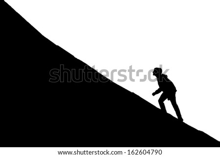Young boy going up on a slope. Facing a challenge concept - stock vector