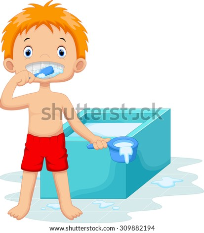 Young boy is brushing her teeth in the bathroom - stock vector