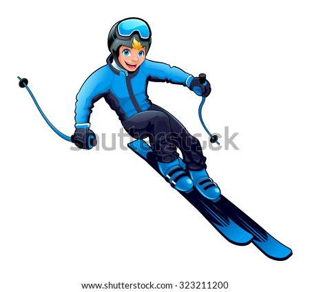 Young boy is skiing. Vector cartoon isolated character. - stock vector