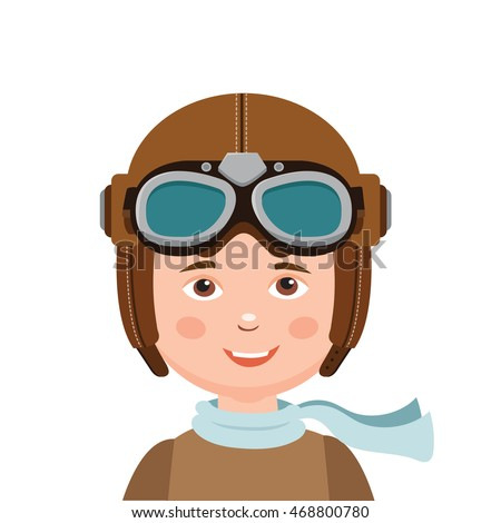 Young Boy Pilot Isolated In White Background.Vector Illustration. Retro Boy Pilot Hat.