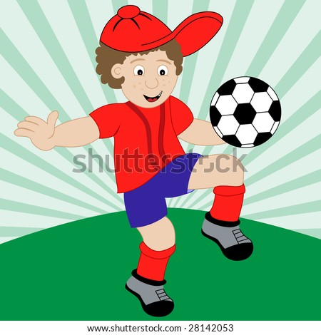 Young boy playing football wearing his red and blue football kit. Raster also available. - stock vector