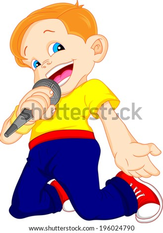 young boy singing - stock vector