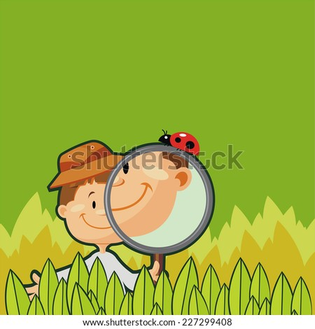 Young boy studying environment. Researcher in nature - stock vector