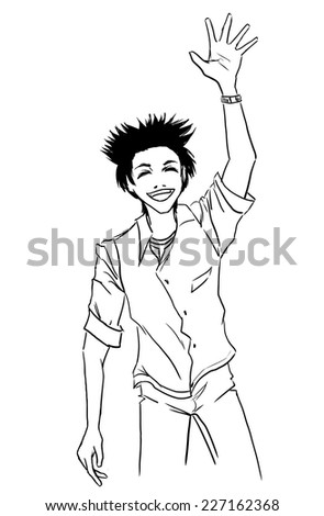 Young boy waff by hand. Guy is dressed in jeans and shirt. Themes are greetings, hello,salute. Vector monochrome cartoon. - stock vector