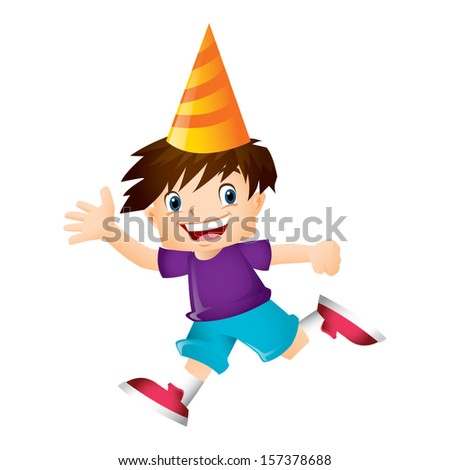 Young boy with brown hair running and waving happily - stock vector