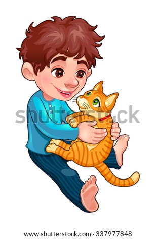 Young boy with cat. Cartoon vector isolated illustration - stock vector