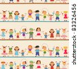 Young boys and girls in seamless pattern. Jpeg version also available in gallery - stock vector