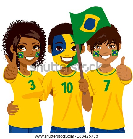 Young Brazilian soccer fans cheering their Brazil national football team - stock vector