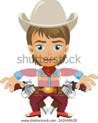 young brown hair and blue eyes with two revolvers in the hat - stock vector