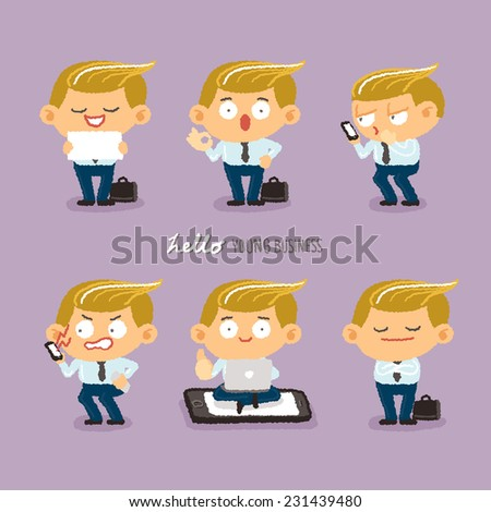young business character design set - freehand drawing vector Illustration - stock vector
