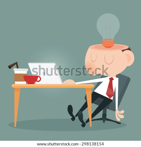 Young business man laziness - stock vector