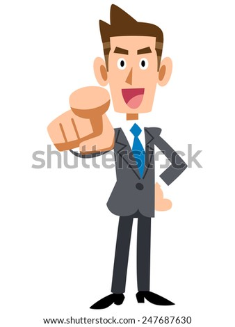 Young business man pointing a finger - stock vector