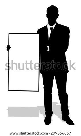 young business man showing something on a board, vector