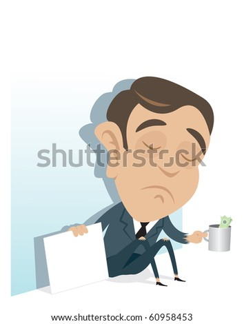 Young business man unemployed and begging for money and job. - stock vector