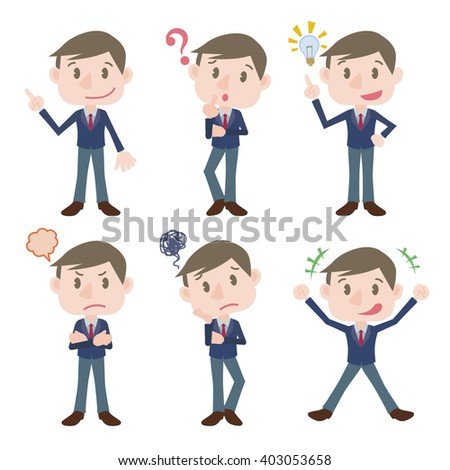 young business person character various feeling clip art set, vector illustration