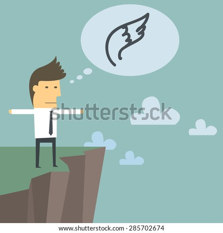 young business want to jump of a cliff and flying, Cartoon graphic for start up business concept