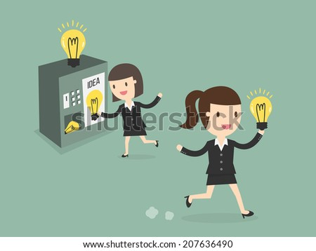 young business woman buy new ideas from vending machine - stock vector