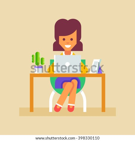 Young business woman or a secretary working at her office table with laptop. Vector illustration in flat style. - stock vector