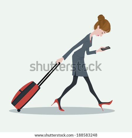 Young business woman pulling the luggage busy with mobile phone - stock vector