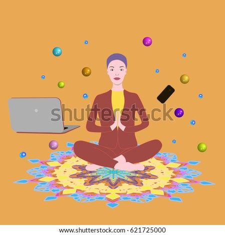 Young business woman sitting on the working table in yoga position, meditating. Business yoga