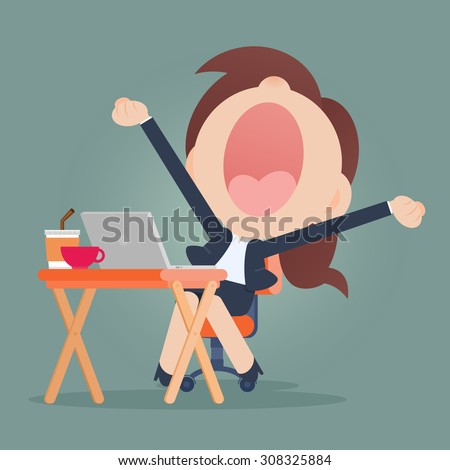 Young business woman yawning - stock vector