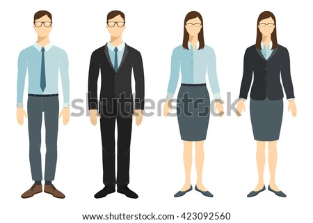 Young businessman and businesswoman in flat style. Vector collection