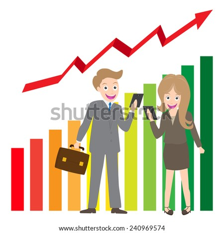 Young businessman and woman holding cell phone on business chart background. - stock vector