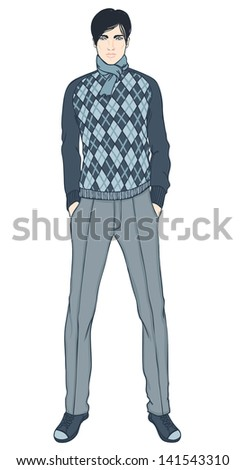 Young businessman (Caucasian type) - vector illustration isolated on white - stock vector