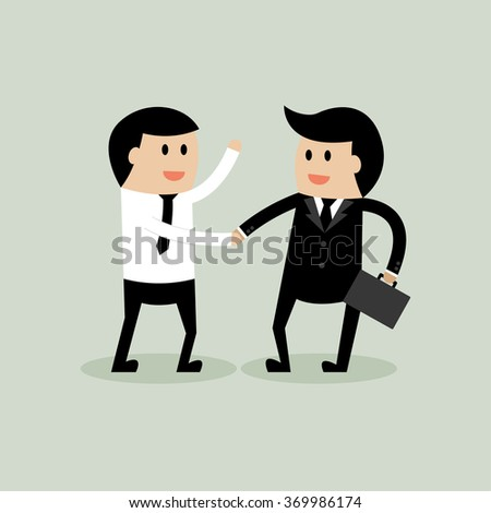 Young businessman discuss for business meeting and handshake. - stock vector