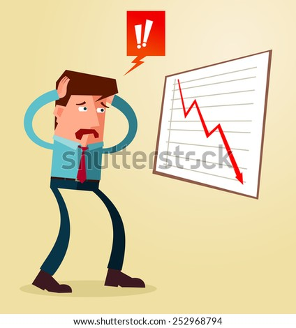 young businessman get shocked watching business result - stock vector