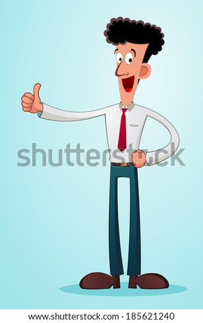 young businessman give a praise with his thumb - stock vector