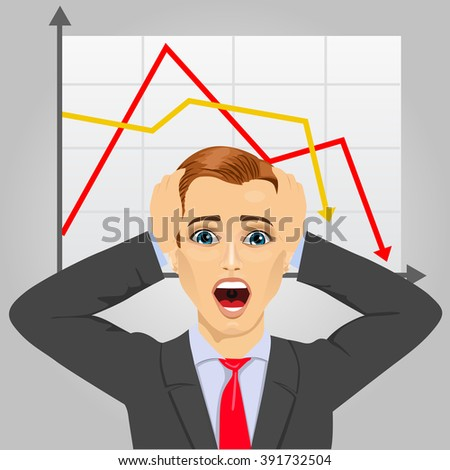 young businessman grabbing his head in economic crisis with line graph showing negative trend - stock vector