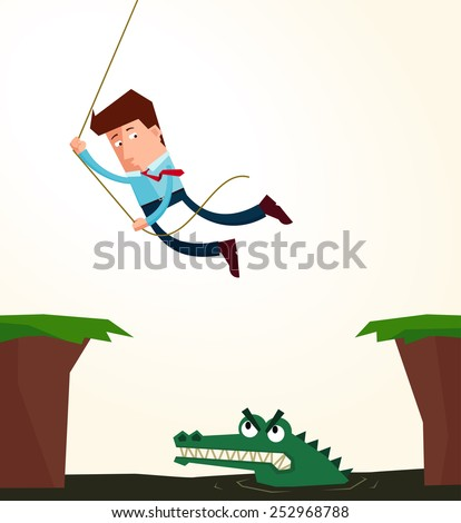 young businessman hanging in the rope to avoid an obstacle - stock vector