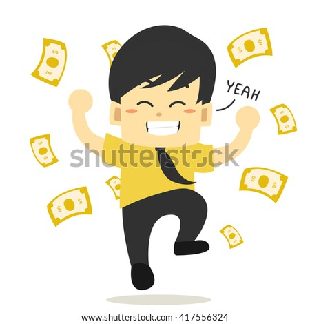 Young businessman is happy to receive the money.