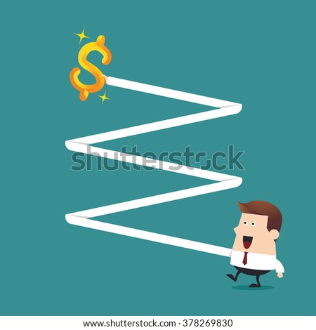 Young businessman long hand grab gold dollar sign in the air, Business idea