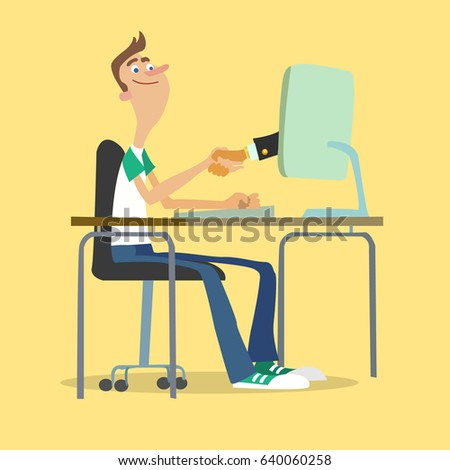Young businessman made a deal online. Vector image.