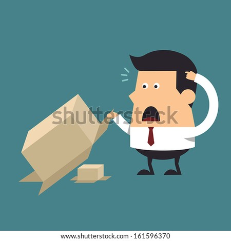 Young businessman open brown paper box, Business concept