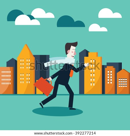 Young businessman running to office in a city street. Business man running late for work concept design. Working day vector illustration - stock vector