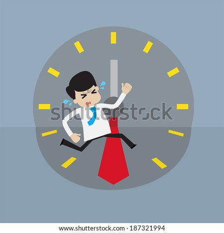 Young businessman rush run to place  within deadline time. concept for hurry up or out of time. - stock vector