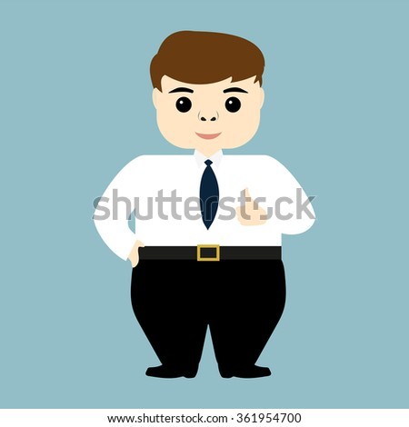 young businessman showing Like - stock vector