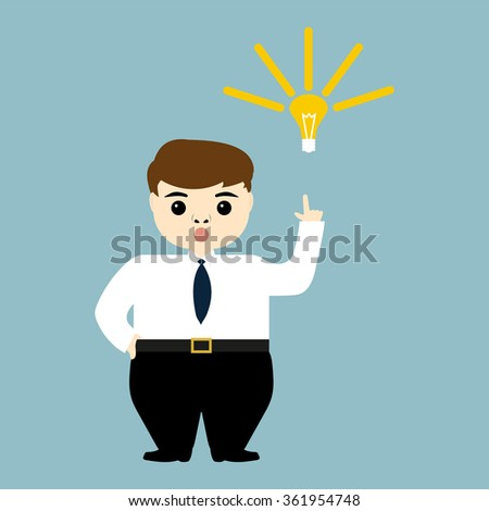 young businessman showing the idea of a light bulb - stock vector