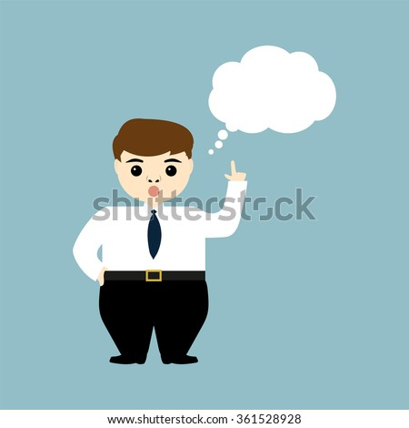 young businessman showing thumb up and thinks aloud - stock vector