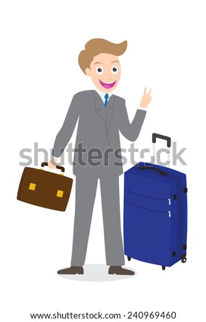 Young businessman showing victory fingers sign with luggage on white background isolated. - stock vector