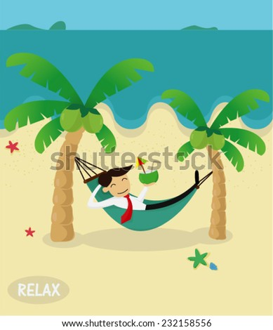 Young Businessman Sleeping In A Hammock On The Beach Vector Illustration