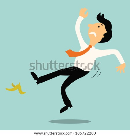 Young businessman slip on banana peel and falling down.  - stock vector