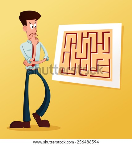 young businessman solve the problem - stock vector