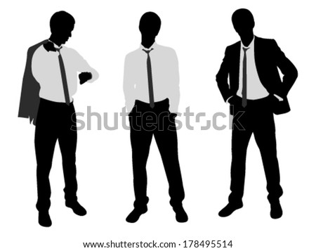 young businessman standing - stock vector