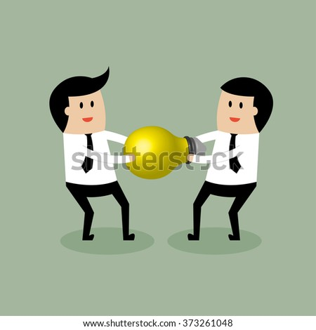 Young businessman steal idea lamp. - stock vector