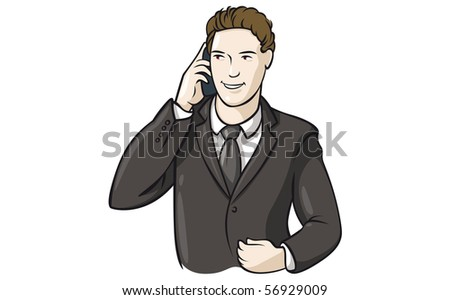 Young businessman talkig on the phone. - stock vector