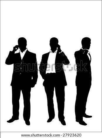 young businessman using a mobile phone - stock vector